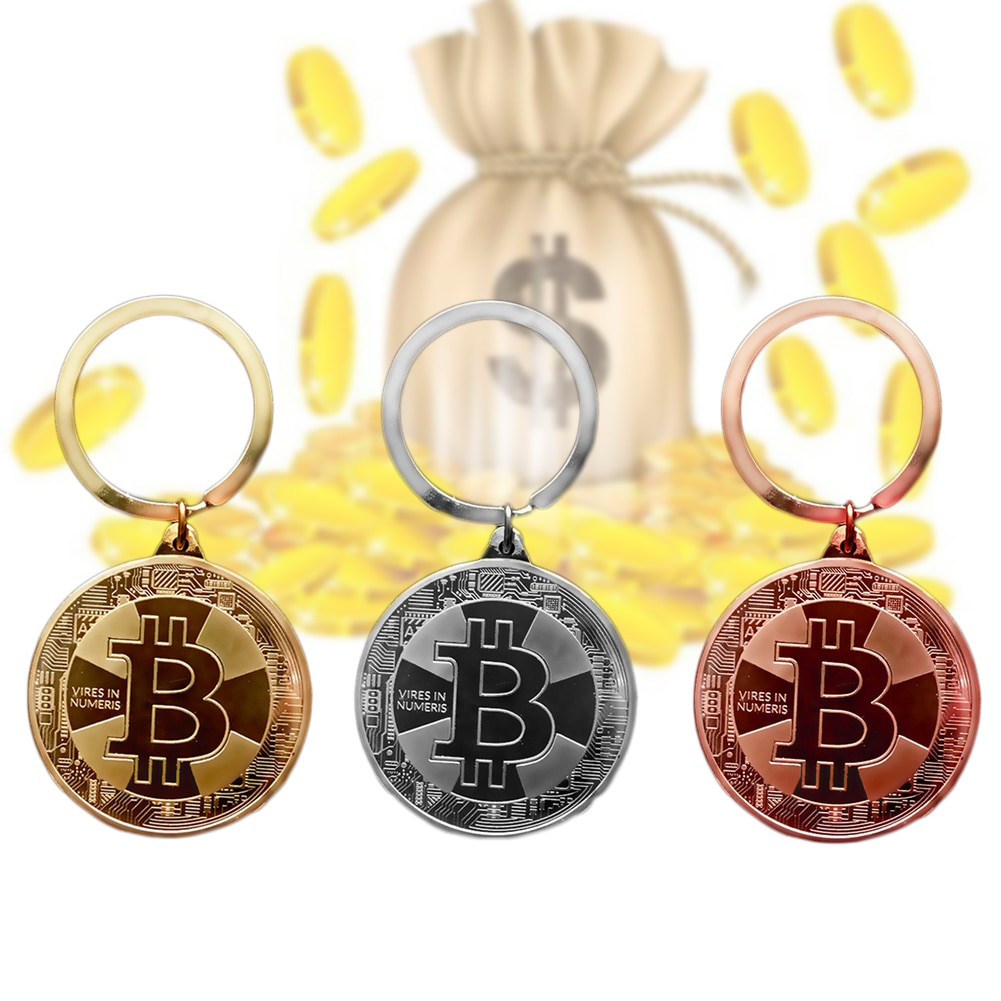 2021 New Gold Plated Bitcoins Coin Key Chain BTC Coin Art Collection Souvenirs Collectibles Business Gifts And Holiday DecoGifts
