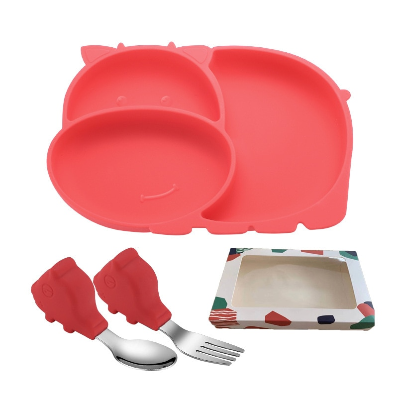 Cow Silicone Baby Feeding Silicone Plate Kids Bowl For Breakfast Nursning Feeding Tableware Set With Spoon Fork Set