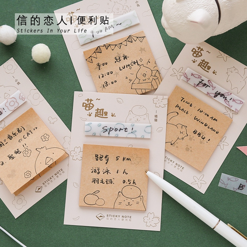 40 unids/lote Tornasol Nota de papel Stivky nota Retro Kawaii gatito pequeño pájaro patrón notas adhesivas Kawaii papelería Nota de papel
