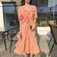 2020 fashion plaid patchwork long summer dress women korean chic lantern sleeve office ladies elegant drawstring dresses