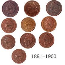Tête indienne de 1891 à 1900 ans   Cent pièces de reproduction en cuivre disponibles