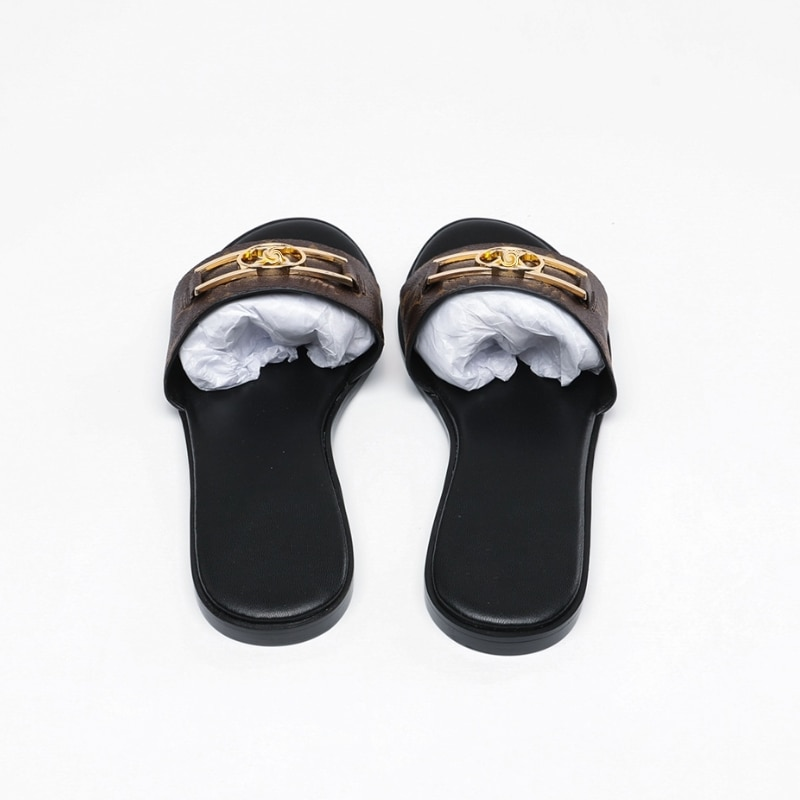 Women Gingham Sandals Fashion Love Sandal With Gold Metal Decoration Black Brown And White Beach Slides enlarge