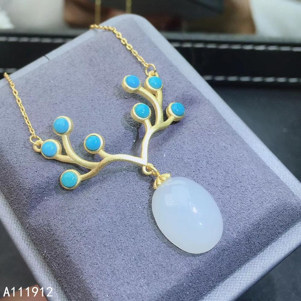 Djjeaxcmy joyería fina jade blanco natural azul turquesa Plata de Ley 925 COLLAR COLGANTE para mujer prueba de soporte de cadena exquisita
