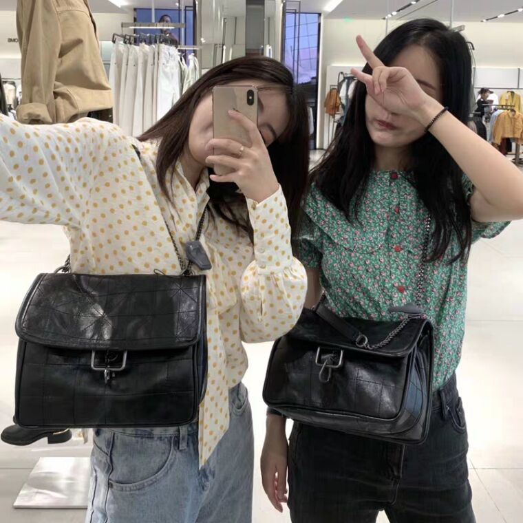 Hobo Bag 2020 New Style AR Black Street Rock And Roll Soft WOMEN'S Bag Chain Rhombus Shoulder Hand