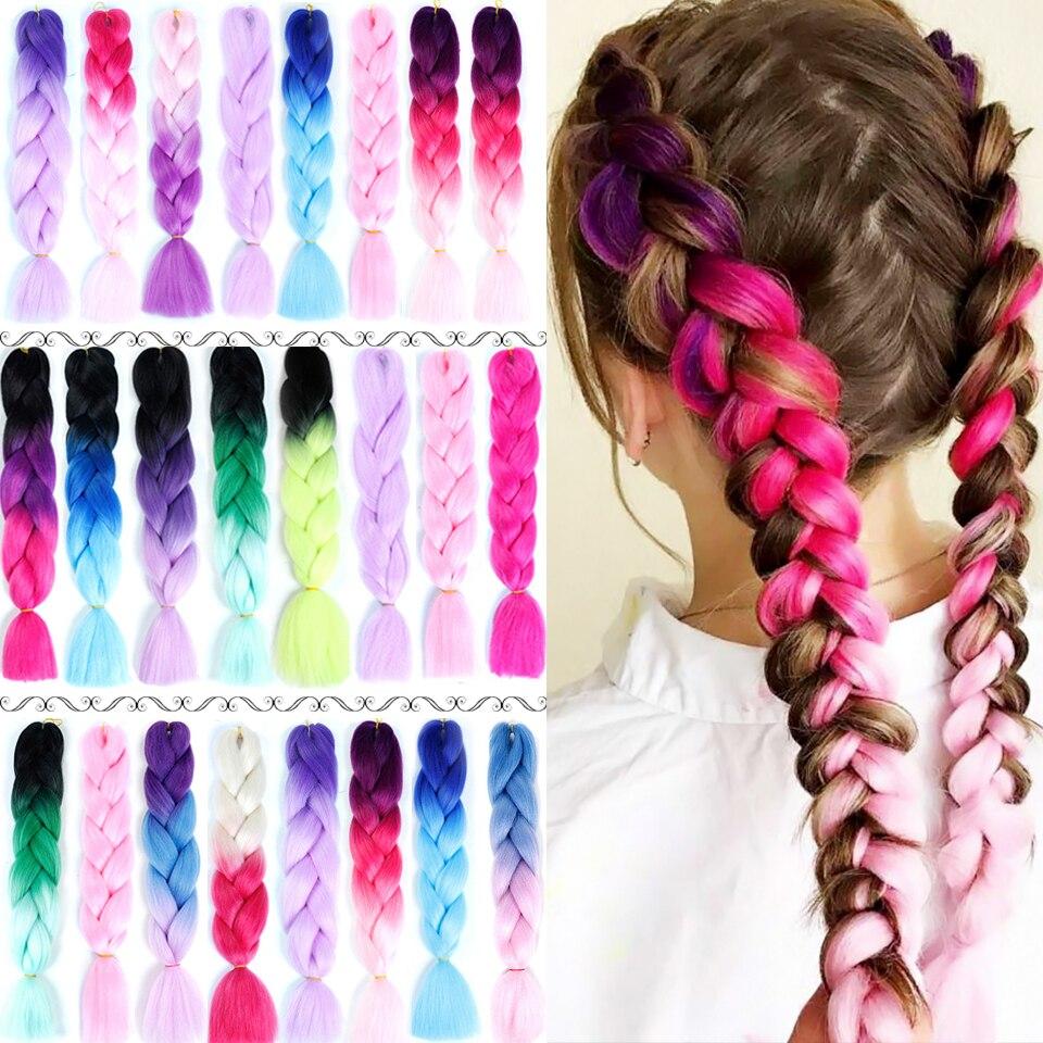 24 zoll Bunte Synthetische Jumbo Haar Zöpfe Rosa Afrikanische Afro Box Ombre Flechten Haar Extensions Stirnbänder für Frauen Headwear