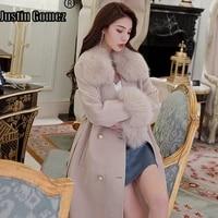 new coming fashion long waist fox collar slim overcoat with belt elegant female wear to work outwear solid color wool coat women