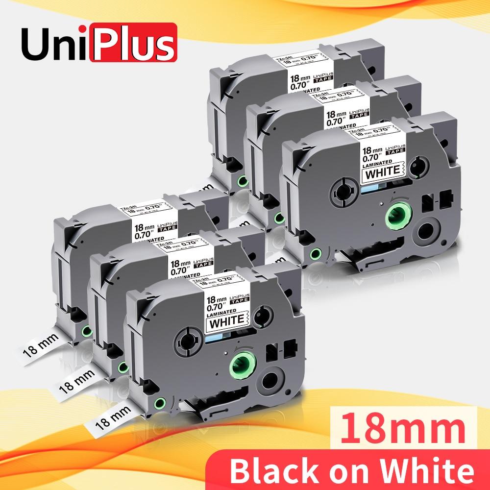 UniPlus 6PK tze241 tz241 сменная лента для печати этикеток Brother tze лента черного цвета на белом 18 мм * 8 м для принтера сенсорных этикеток P Brother маркировк...