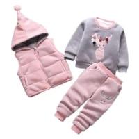 2019 rushed new baby christmas cartoon autumn winter warm sweatshirtpants 3pcs infant kids children sports suit clothes0 4y