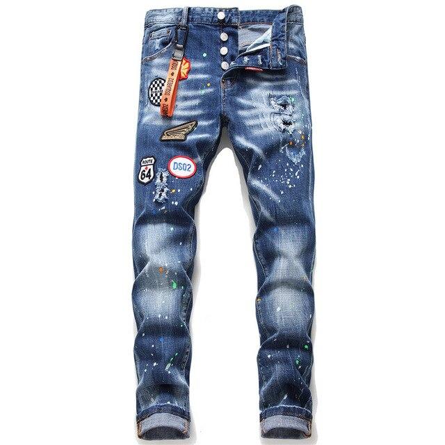 Pantalones vaqueros desgastados DSQ2 para hombre con parches de personalidad dsquar2