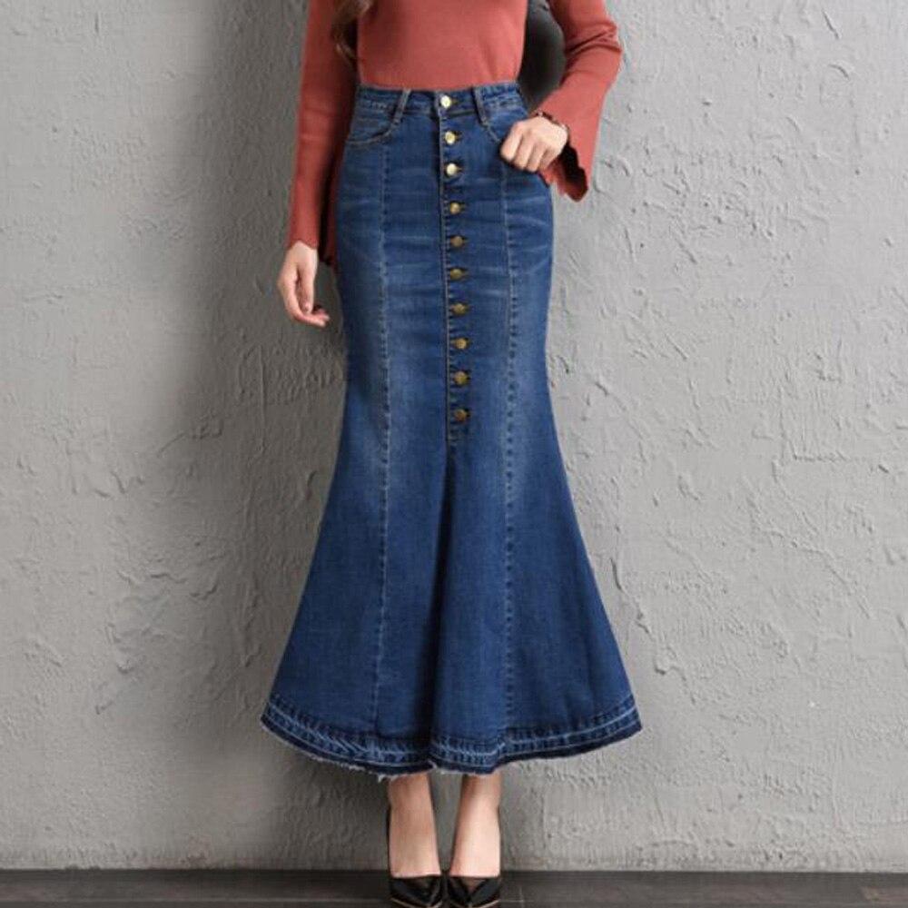 Женская Повседневная джинсовая юбка-годе с оборками и высокой талией, длинные джинсы с пуговицами спереди, юбка-Русалка размера плюс, юбки м...