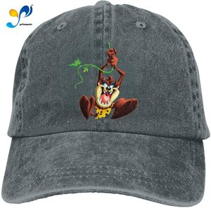 Tasmanian Devil Retro Sports Denim Cap Adjustable Snapback Casquettes Unisex Plain Baseball Cowboy Hat Black
