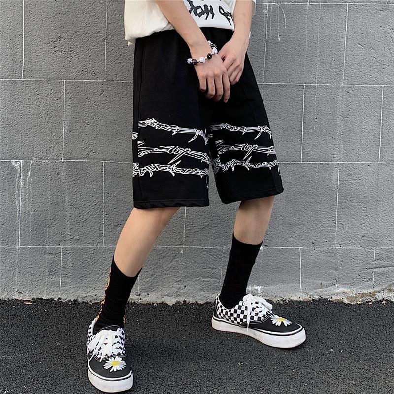 men's wear High Street Hip-hop high Street Black Personality Gothic Shorts Tide knee Pants for Men And Women Casual Shorts