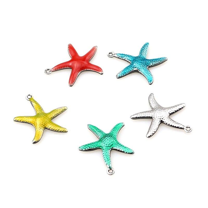 20 pièces en acier inoxydable petite étoile de mer étoile de mer émail coquille plage breloques beau collier pendentif à assembler soi-même Bracelet fabrication de bijoux