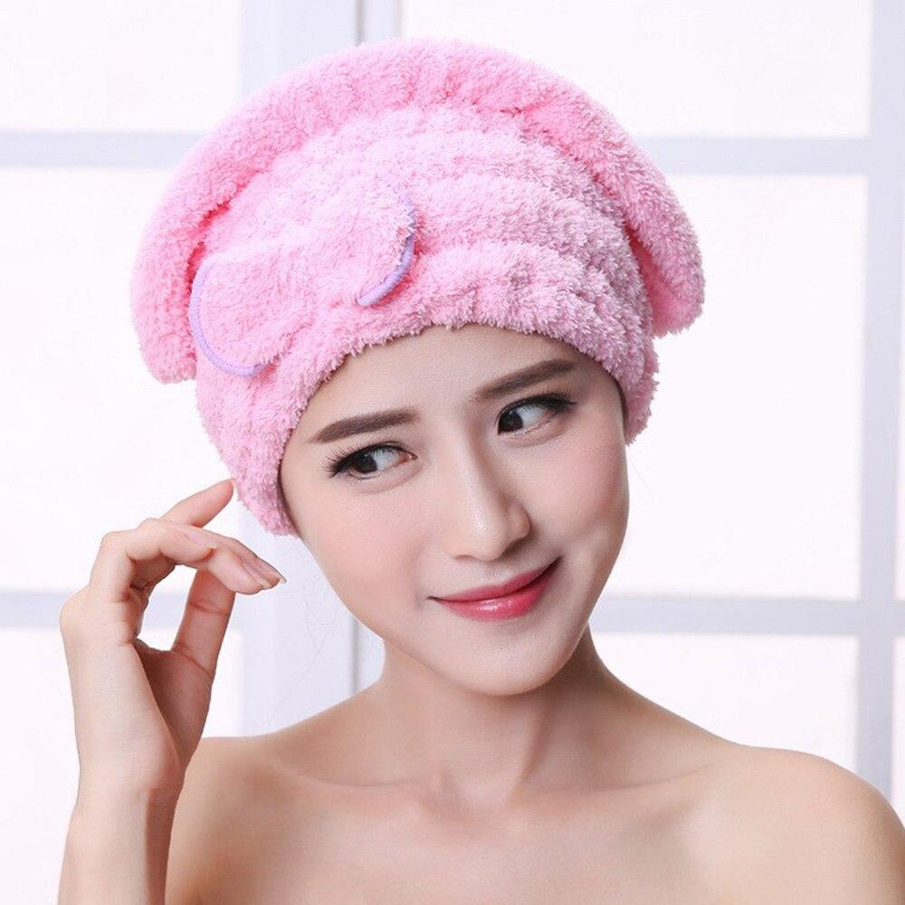 Mujer 4 colores sombrero para el pelo de secado rápido baño sombreros de microfibra de accesorios de baño toallas para envolver