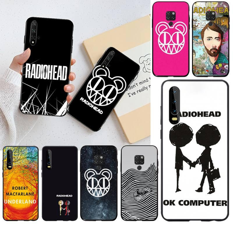 HPCHCJHM Radiohead negro TPU de suave goma de la cubierta del teléfono para Huawei P30 P20 lite amigo 20 Pro lite P Smart 2019