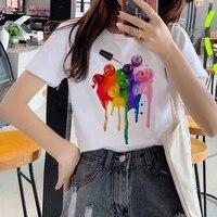 cosmetic coating 3d printed nail polish t shirt rainbow colorful ulzzang korean style tops womens basic casual tshirts tops