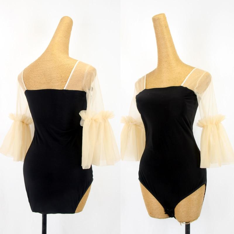 Dance Outfit Salsa Latin Dancewear Gauze Net Princess Sleeve Practice Trainning Ballroom Latin Dance Tops Women Practice Y222