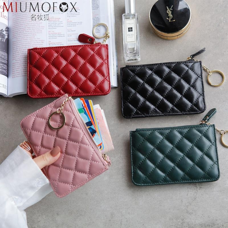 Women Genuine Real Cow Leather Zip Coin Wallet Key Chain Fashion Small Purse Money Designer Diamond Pattern Short Change Pouch