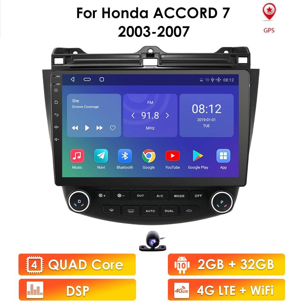 Ossuret 2din10.1Android Car radio GPS Navigation for Honda ACCORD 7 2003-2007 Multimedia DVR SWC FM CAM-IN BT USB DAB DTV OBD PC