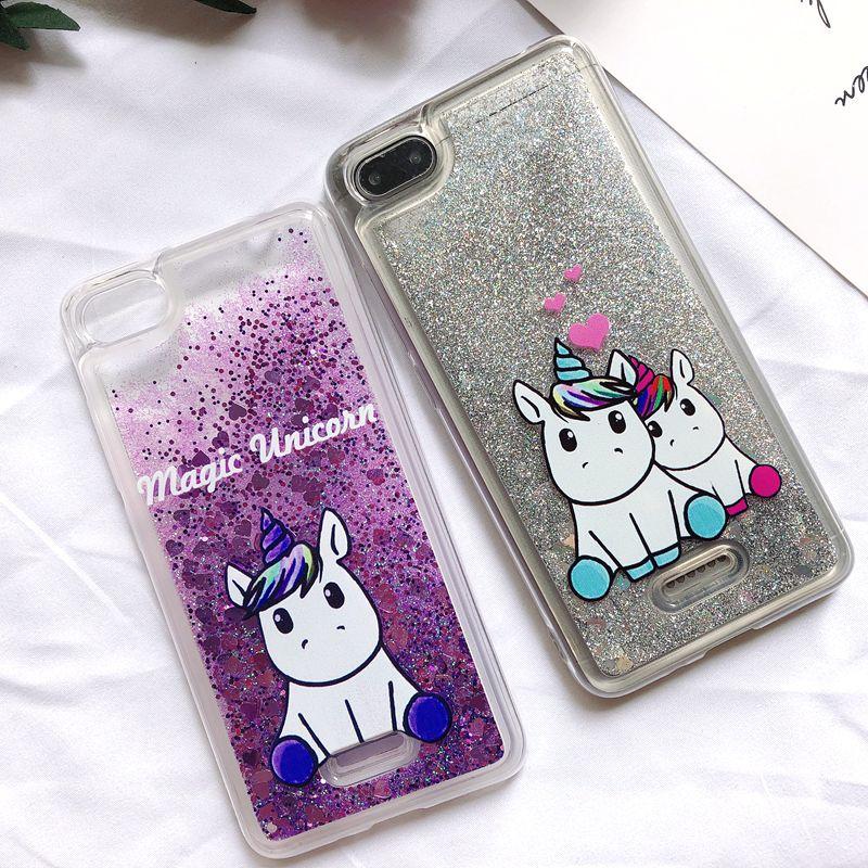 Funda 6A para Etui Xiaomi Redmi 6A, Funda trasera de arena movediza líquida con purpurina de unicornio Kawaii para Funda Xiaomi Redmi 6 6A Xiomi