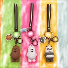 2019 Cartoon we Naked Bear Key chain three Animals white Bear Grizzly Bear Stripe Key chains Woman Car Pendant Key Ring