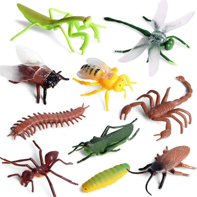 10 pçs/set pequeno inseto animais modelo grama funil abelha dragonf mantis figuras de ação estatueta em miniatura educacional bonito do miúdo brinquedos