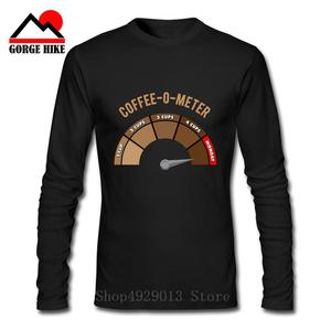 100% cotton men Long Sleeves casual car speed meter print tachograph tshirt male o-neck t-shirt Coffee-o-meter monday tee shirts