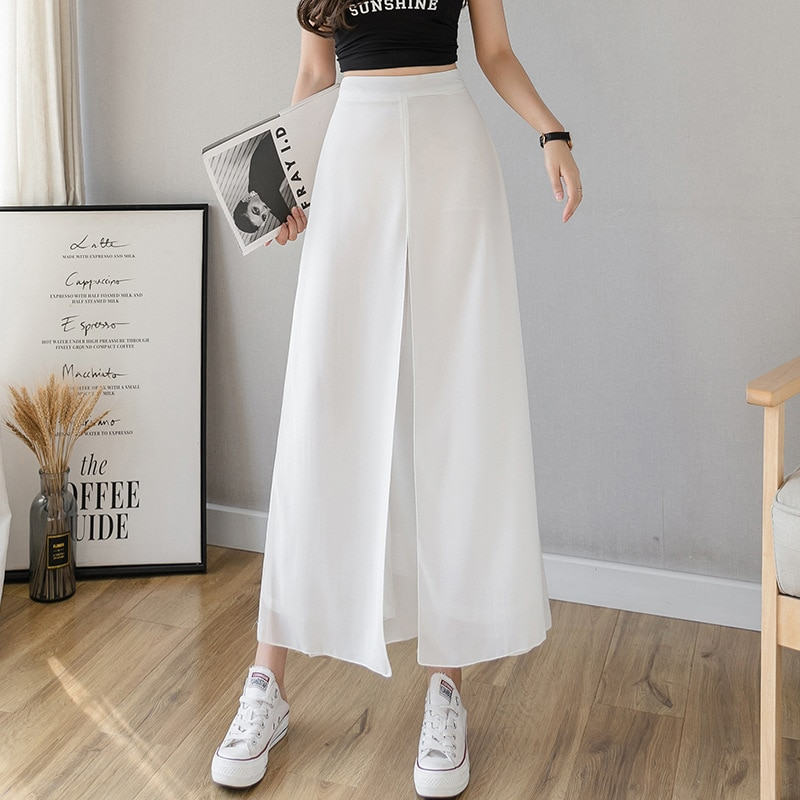 Summer Korean High Waist Thin Women Pants Western Style Ice Silk Chiffon Wide Leg Plus Size Trouser Women Loose Gauze Hakama