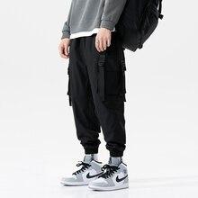 2020 Mannen Linten Streetwear Cargo Broek 2020 Herfst Hip Hop Joggers Broek Mannen Overalls Zwart Fashions Baggy Mannelijke Broek