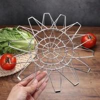 variety fruit basket multi shape stainless steel fruit tray creative retractable folding storage blue home kitchen utensils