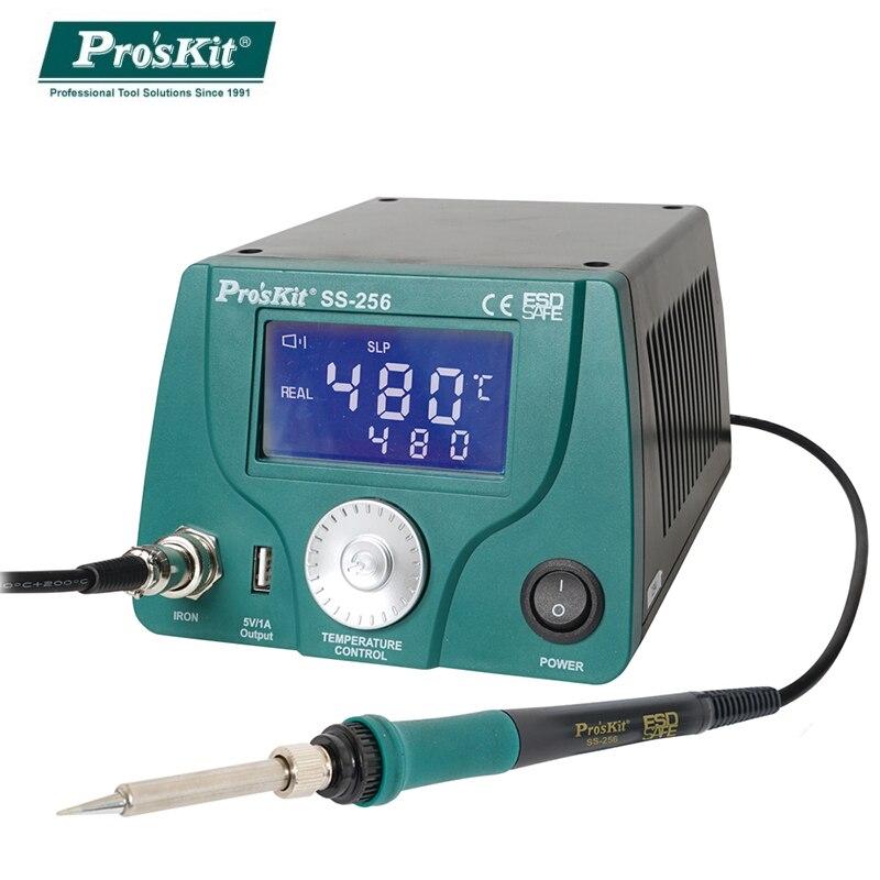 Pro'sKit محطة لحام SS-256H 60 واط LCD التحكم الرقمي الذكي في درجة الحرارة 480 ℃ مكافحة ساكنة ترموستات لحام الحديد
