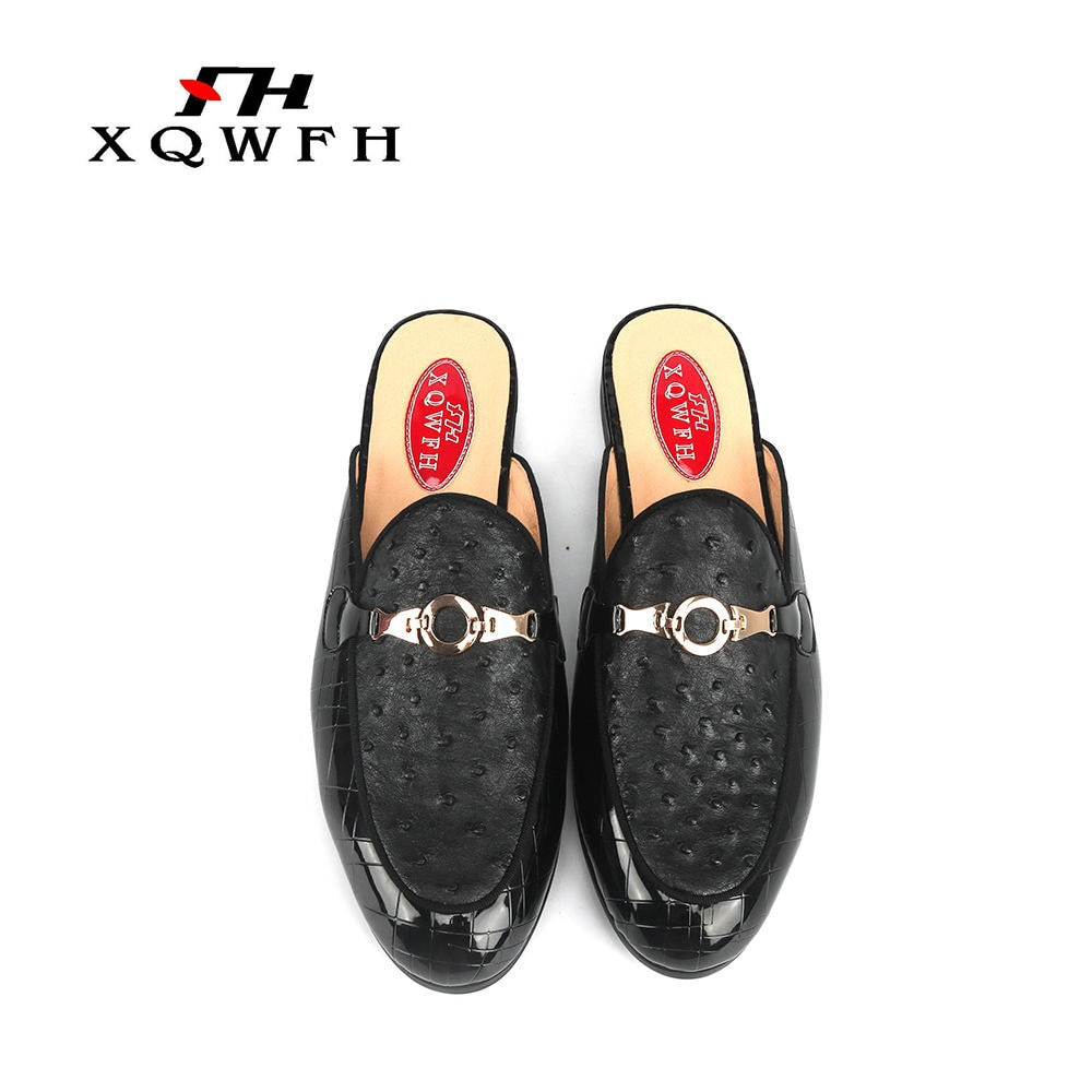 XQWFH-شبشب من جلد النعام للرجال ، شبشب عصري للحفلات والحفلات الراقصة ، حذاء موكاسين مصنوع يدويًا للرجال