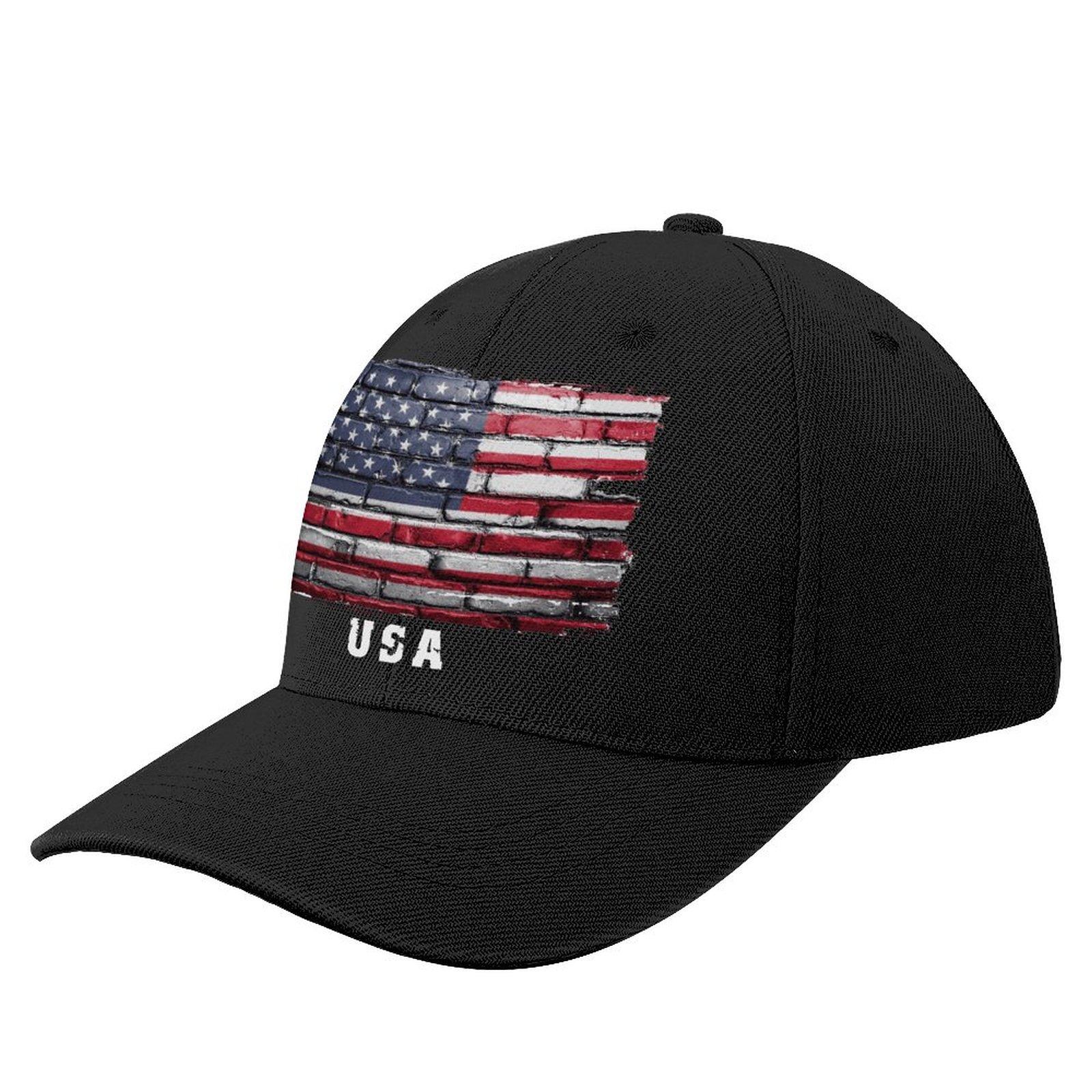 США и флагом Соединенных Штатов кирпичная стена вентиляторы Бейсбол Кепки дикий козырек от солнца остроконечные Шапки Регулируемый Кепки s...
