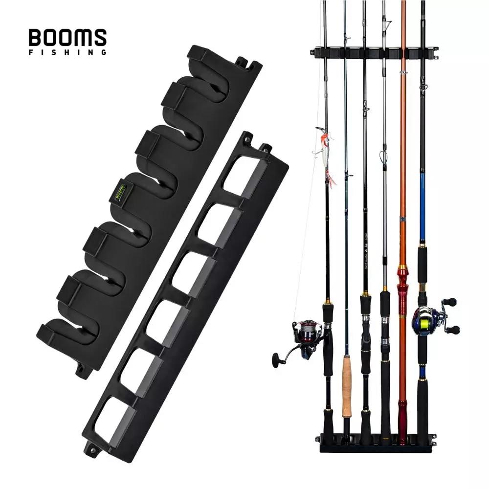 Booms Fishing WV2 Vertical 6-Rod Rack Fishing Pole Holder Rod Holders Wall Mount Modular for Garage
