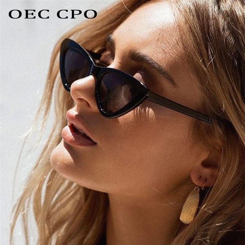 OEC CPO черные Винтажные Солнцезащитные очки кошачий глаз женские модные градиентные маленькие очки кошачий глаз солнцезащитные очки женские...