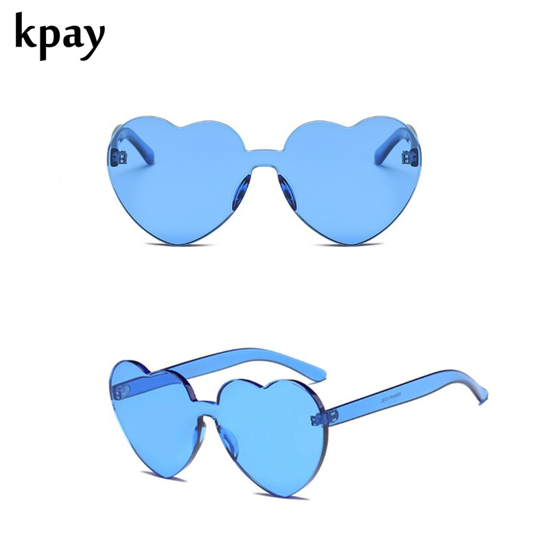 New Love Heart Rimless Sunglasses Women Luxury Brand Designer Heart-shaped Sun glasses Candy Color L