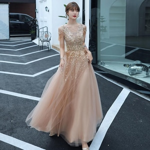 Elegant Champagne Gold Long Evening Dress with Shiny Sequin Tassel Beads Lace Up Floor-Length Formal Gowns New Party Dresses