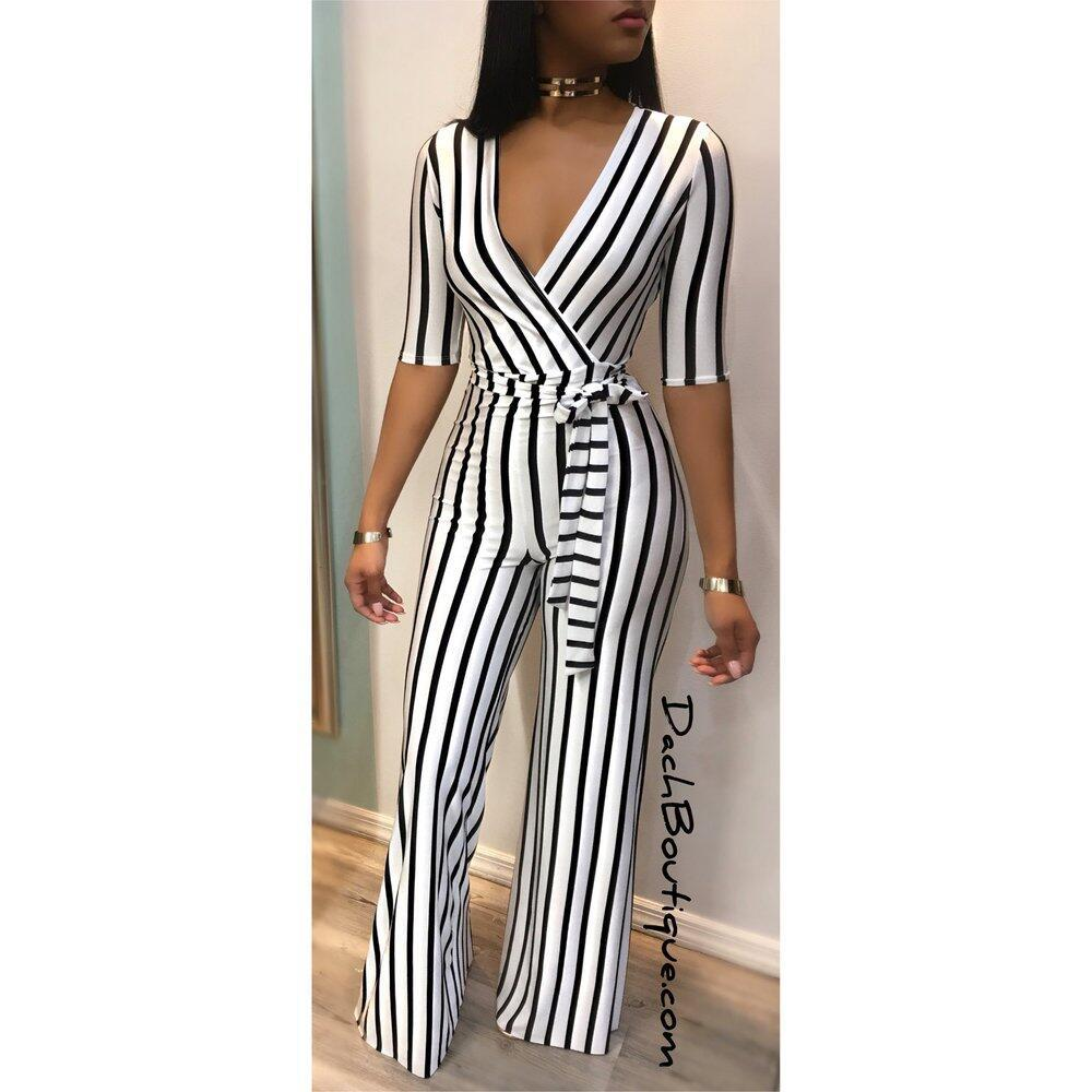 Siamese pants female summer 2021 new womens deep V slim slimming contrast color black and white striped jumpsuit