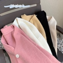 Lazy Gentle V-neck Cardigan Knitted Sweater for Women 2021 New Loose Long Sleeve Fashionable Jacket