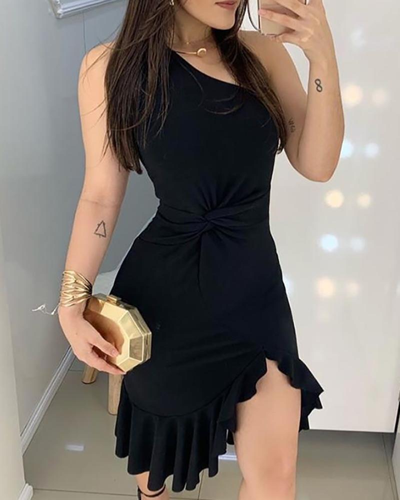Feminino elegante um ombro cintura torcida babados hem vestido