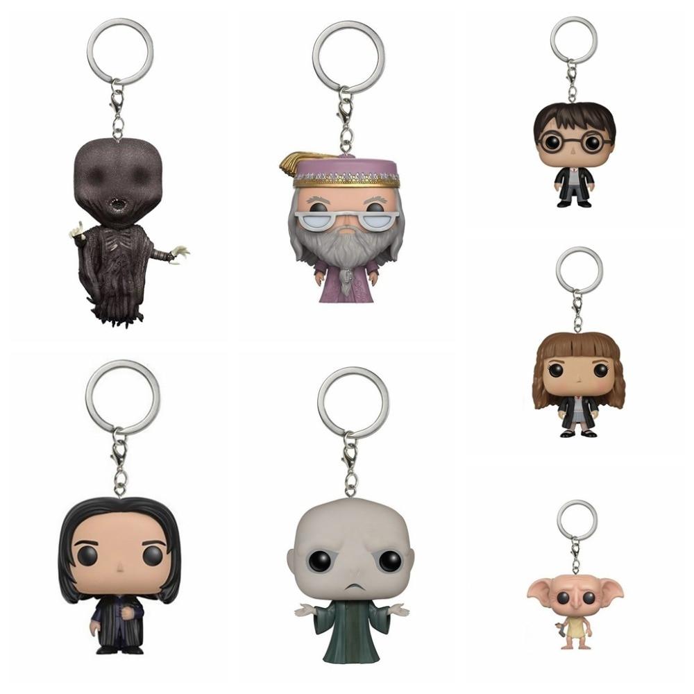 Ação funko pop chaveiro harri potter albus dumbledore snape dementor dobby hermione granger voldemort collectible keyring brinquedos