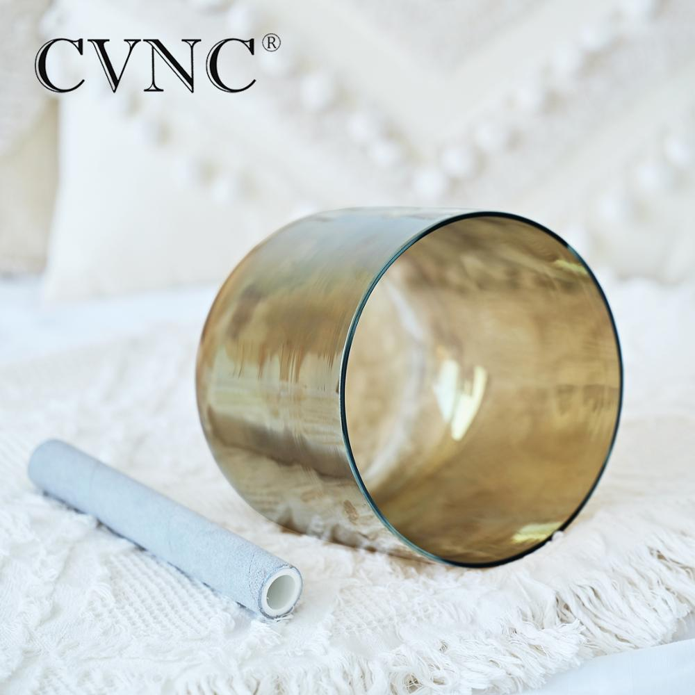 CVNC 6 Inch Champagne Alchemy Chakra Clear Crystal Singing Bowl for Meditation Sound Healing with Free Suede Mallet and O-ring enlarge