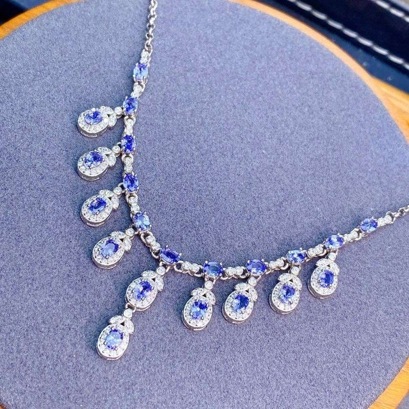 Jewelry 100% Natural Tanzanite Pendant for Party 3x4mm Tanzanite Necklace Pendant 925 Silver Tanzanite Jewelry