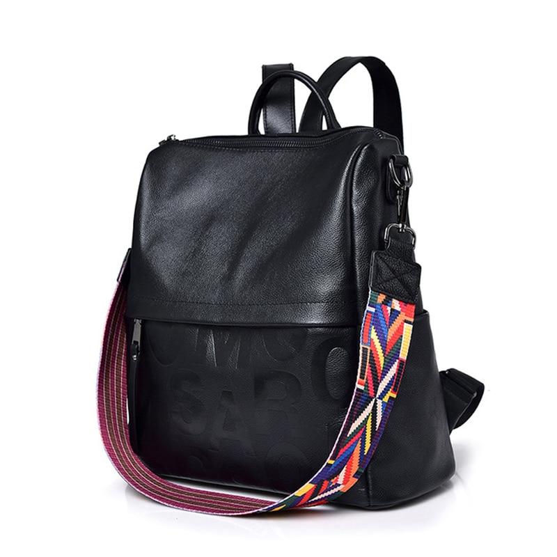 Fashion Women's Genuine Leather Backpack Large Capacity School Bags for Teenage Girls Bagpack Female Backpack Lady Mochila