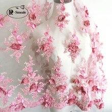 Tissu en dentelle 9 couleurs pour robe de mariée   Pour robe de mariée, couleur or violet noir blanc rouge, motif de fleurs 3D en mousseline de soie, perle à ongles, livraison gratuite RS35