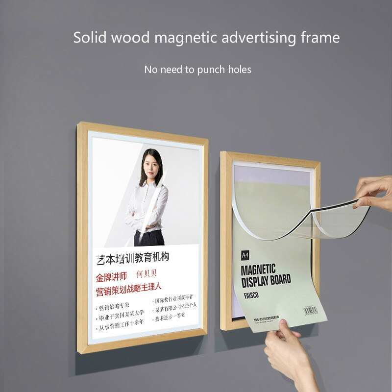 Solid Wood Advertising Menu Frame Acrylic Photo Frame Hanging Wall Sign Holder A3 A4 Wooden Poster Frame Picture Holder недорого