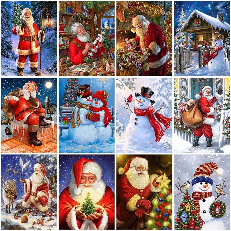 Алмазная 5D картина «сделай сам» с изображением снеговика, деда мороза, подарочные наборы для вышивки крестиком, Рождественская Алмазная вы...