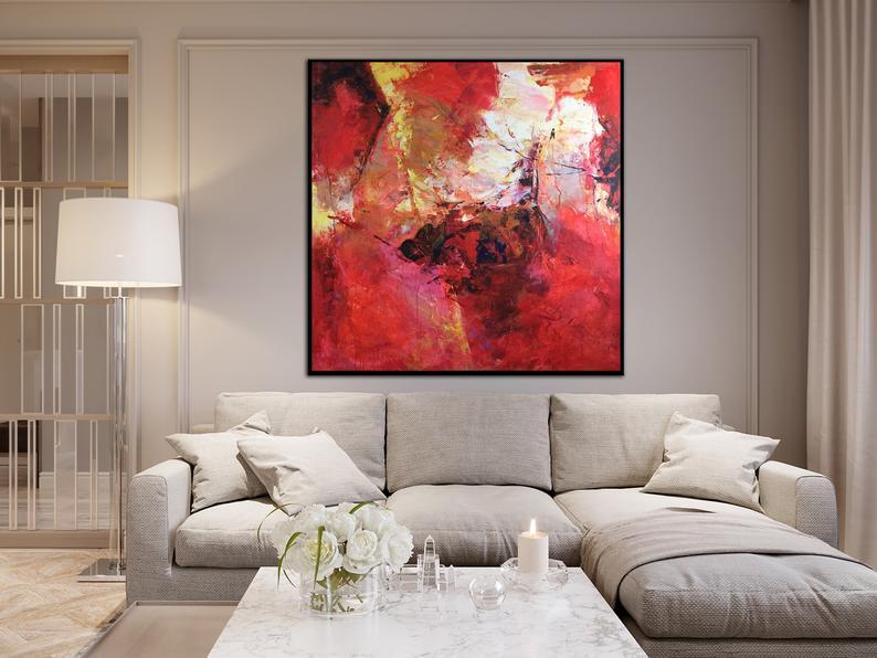 Mur rouge Art abstrait rouge peinture peinture colorée peinture oeuvre grand Original peintures à lhuile hôtel mur décor toile