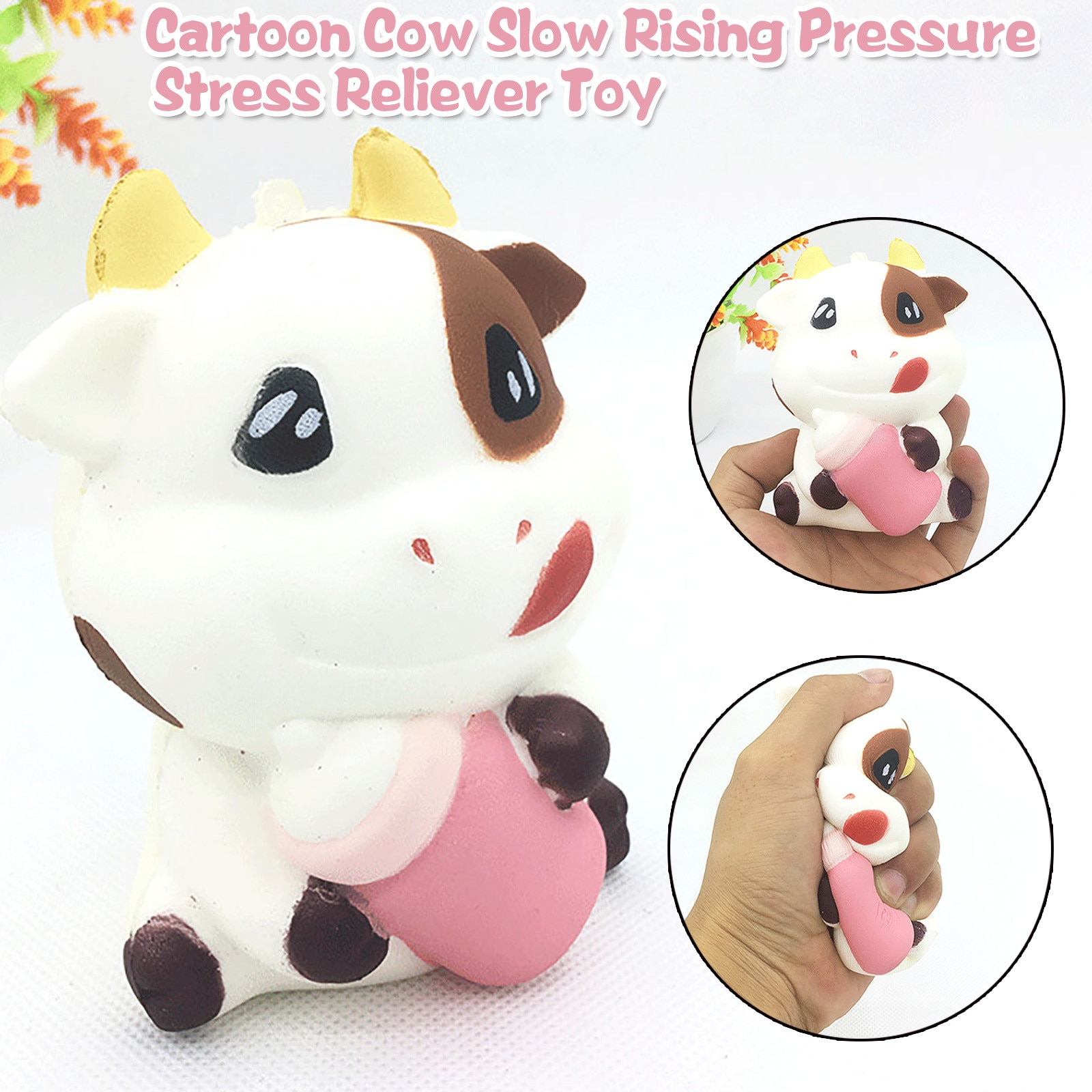 Adorable Cartoon Cow Charm Slow Rising Pressure Stress Reliever Hobbies Toys Decompression Personalized Birthday Present Jouet