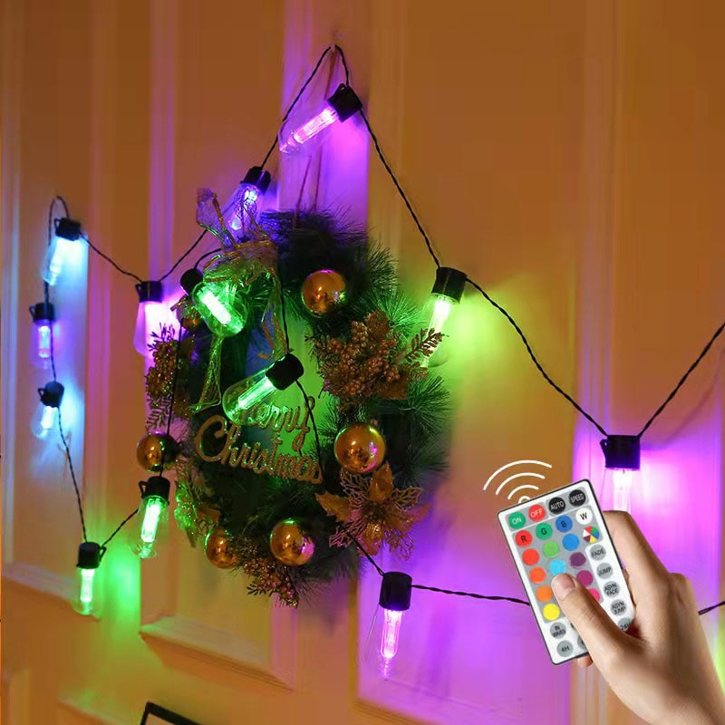 Светодиодная гирлянда с лампочками, уличная Рождественская гирлянда с дистанционным управлением для свадьбы, праздника, вечеринки, украше...